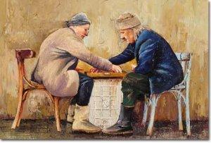 Старци на игра на табла